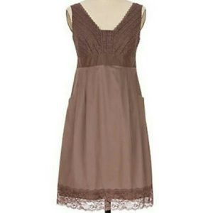 MOULINETTE SOEURS Brown Lace Gertie Dress 6 Anthro